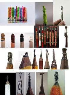 pencil and crayon carved art