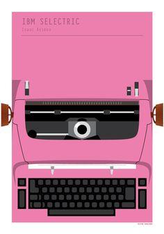 IBM Selectric Typewriter Isaac Asimov poster