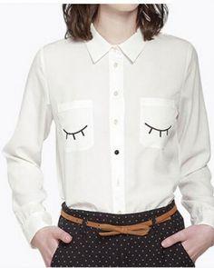 Splice denim shirt for women white long sleeve shirts back short ...