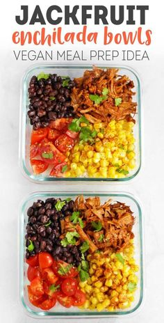 Need some meal prep ideas? Good, 'cause I'm coming at you with this FLAVOR PACKED recipe for jackfruit enchilada bowls! Jackfruit Enchilada Bowls - Vegan Meal Prep Idea This recipe came from my intense love Beginner Vegetarian, Vegetarian Meal Prep, Healthy Meal Prep, Meal Prep For Vegetarians, Vegetarian Recipes For Beginners, Healthy Recipes, Lunch Recipes, Whole Food Recipes, Cooking Recipes