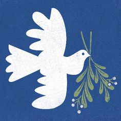 Illustrated dove and olive leaf Art And Illustration, Christmas Illustration, Dove And Olive, Peace Dove, Xmas Cards, Christmas Art, Bird Art, Collages, Art Paintings