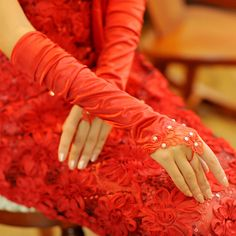 New red double-headed flowers wedding gloves