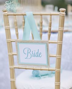 DIY ~ how to easily make these adorable 'removable' wedding reception chair signs - that will fit any chair!!! FREE downloads #somethingturquoise