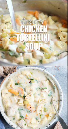 Crockpot Recipes, Chicken Recipes, Cooking Recipes, Crockpot Chicken Tortellini Soup, Chicken Cream Soup, Creamy Chicken Soups, Chicken Alfredo Soup Recipe, Recipes With Cheese Tortellini, Tortellini Ideas