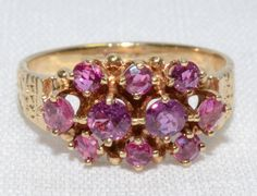 Vintage Ruby Cluster 14k Yellow Gold ring Size: by LadyLibertyGold