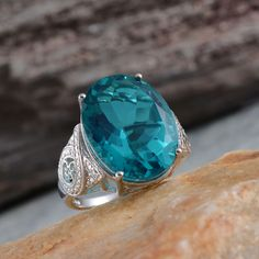 Capri Blue Quartz Ring in Platinum Over Sterling Silver