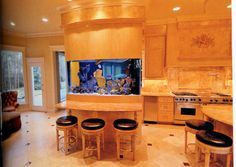 kitchens with aquariums | Kitchen Aquariums add a soothing touch to a busy room