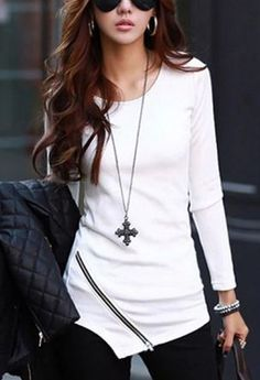 Looks I LOVE! Love the Shirt! Love the Cross Necklace! #Outfit #Ideas #Looks_I_Love #Shirts #Jewelry #Accessories