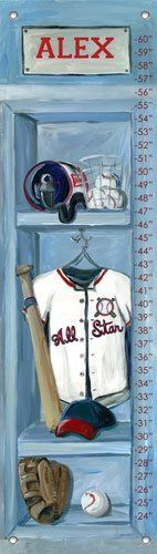 Baseball Locker Personalized Growth Chart by Oopsy Daisy. $49.00. Track your little slugger's height with this baseball locker growth chart. It's stocked with all the gear your little slugger needs for the big game. Batter up!