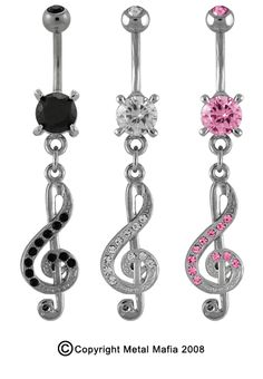 Treble Clef Belly Button Rings.