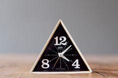 Vintage linden black forest geometric alarm clock
