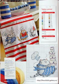Culinary Cats Table Runner by Margaret Sherry CrossStitcher Issue 222 & The Best of Margaret Sherry Book Hard Copy Both Cross Stitch Needles, Cross Stitch Baby, Cross Stitch Animals, Cross Stitch Charts, Cross Stitch Designs, Cross Stitch Patterns, Margaret Sherry, Cross Stitching, Cross Stitch Embroidery