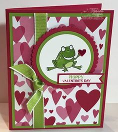 Hoppy Valentine's Day So Hoppy Together Frog Heart Stampin' Up! Card (The Stampin' Bunny) Valentines Day Cards Handmade, Kinder Valentines, Greeting Cards Handmade, Valentine Ideas, Kim Valentine, Valentine Nails, Valentine's Cards For Kids, Stamping Up Cards, Rubber Stamping