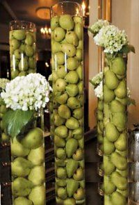 Extra Tall Glass Cylinders with Pears and Hydrangeas Flowers