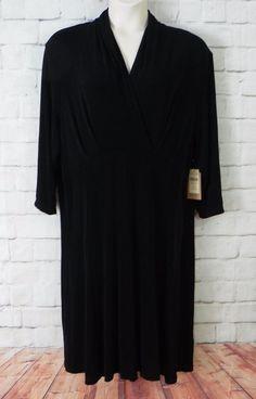 NEW Womens Plus COLDWATER CREEK Black Travel Knit Empire Waist Dress SZ 3X 24-26 #ColdwaterCreek #EmpireWaist #CasualWeartoWork