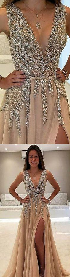 Prom Dress,Women's Deep V Beading Sequin Long Prom
