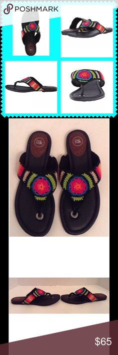 The Sak Shana Striped Fabric Thong Sandal Slide The Sak Shana global striped fabric thong sandal slide.  Size 7.5 medium.  New with box.   Thong-style construction with leather toe post.  Woven fabric upper.  Man made lining.  Lightly cushioned man made footbed.  Flexible sole.  No trades. The Sak Shoes Sandals