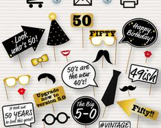 Birthday Party Printable Photo Booth Props - Glasses Hats Ties Lips Mustaches Speech - INS Birthday Images For Men, 50th Birthday Party Ideas For Men, Birthday Decorations For Men, 50th Party, Party Party, Fifty Birthday, 60th Birthday, Birthday Parties, Birthday Cakes