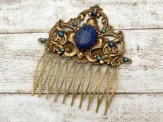 Hair comb vintage style with lapis lazuli gemstone, Boho hair accessories, bridal hair comb, hair ornament, vintage wedding, gift for her - pinned by pin4etsy.com