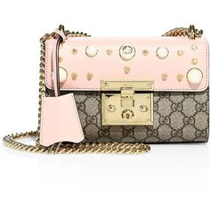 Gucci Padlock Studded Leather Shoulder Bag ($1,980) ❤ liked on Polyvore featuring bags, handbags, shoulder bags, pink purse, gucci shoulder bag, man bag, gucci purse and leather purses