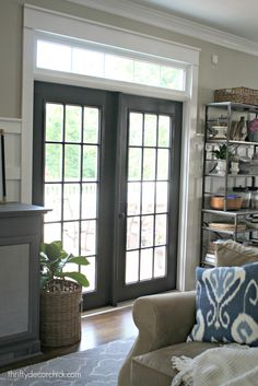 black french doors with transom