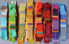 Maryline Collioud-Robert, the making of a new art quilt with scraps of fabric. Maryline Collioud-Robert, the making of a new art quilt with scraps of fabric. Patchwork Quilting, Scrappy Quilts, Quilting Fabric, Fabric Decor, Fabric Art, Drapery Fabric, Fabric Crafts, Textiles, Upholstery Fabric Online