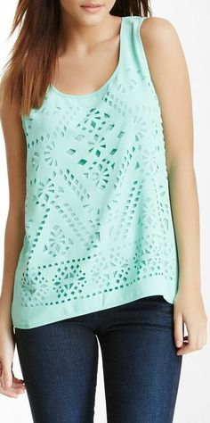 Mint Tribal Laser Cut Tank ♥