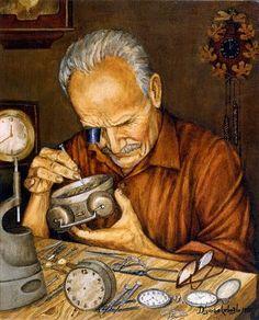 """Watch Repairer"" 1998 - by painter Mehmet Ali Diyarbakırlıoğlu Mind Map Art, Art And Illustration, Gnome Pictures, Ancient Egypt Art, Figurative Kunst, Turkish Art, Arabic Art, Jewish Art, Naive Art"