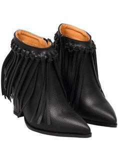 Black Point Toe Tassel PU Boots 41.20