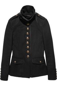 Roberto Cavalli Leather-trimmed wool-twill jacket   NET-A-PORTER