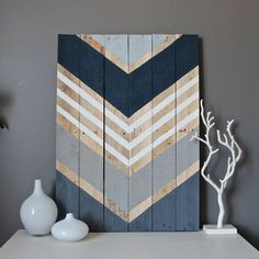 Navy, shades of gray and white adorn this reclaimed wood art piece. This large piece is 21x29--each completed art piece will vary slightly in size