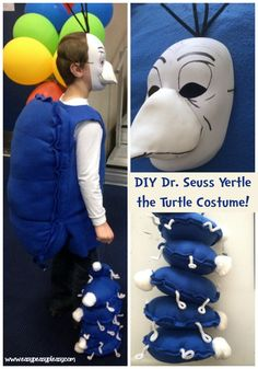 Seuss Yertle the Turtle Costume for Read Across America Week or Halloween! Dr Seuss Costumes, Teacher Costumes, Diy Costumes, Costume Ideas, Halloween Costumes, Projects For Kids, Diy For Kids, Craft Projects, Vintage Halloween