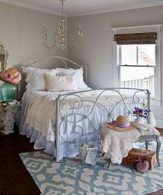 """Beautifully peaceful room, and great re-purposing...""""And do you want to know what the bedspread is? It's a bed skirt used like a coverlet. There is another bed skirt on the bed in the usual way."""""""