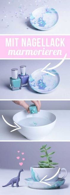 Marmorieren mit Nagellack - Anleitung Tasse marmorieren DIY Geschenkidee