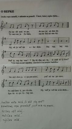 O veľkej repe Sheet Music, Preschool, Education, Children, Young Children, Boys, Kids, Music Score, Child