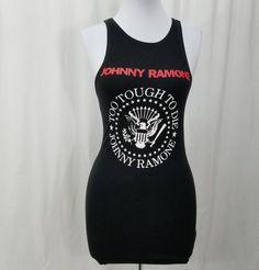 Johnny Ramone The Ramones punk rock Too Tough Too Die black tank top dress L #cinderblock #StretchBodycon #Casual