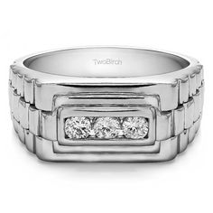 10k White Gold Men's 1/3ct TDW Diamond 3-stone Unique Wedding Ring (G-H, I2-I3) (10k Yellow gold, Size 12.5)