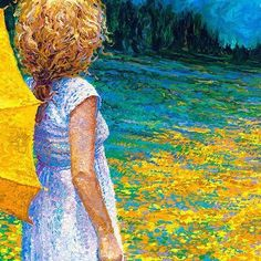 By Iris Scott | oil on canvas | finger painting | originals and prints | www.IrisScottFineArt.com | A girl clad in white ventures out to a field beyond the property line with yellow flowers and vast green grass. The evergreen trees line the background