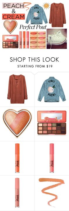 """""""She's a Peach: Peach Lipstick"""" by good-vibes-xo ❤ liked on Polyvore featuring beauty, Être Cécile, Too Faced Cosmetics, Converse, Ellis Faas and peachlipstick"""