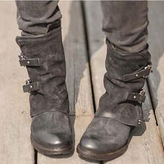28b04fbd9f8 Women s Fashion Vintage Buckle Side Zipper Boots