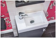 The compact cloakroom unit with a della short projection tap #youmodular #bathroomfurniture #cloakroom #myutopia