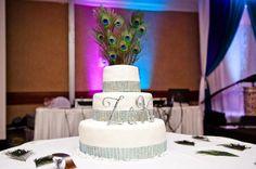Wedding cake Peacock Rhinestone ribbon Bling - Zara and Karim wedding