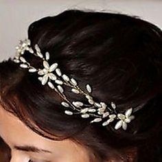 Bride's+Flower+Shape+Rhinestone+Hair+Headband+Pearl+Wedding+Hair+Clip+Accessories+1+PC+–+USD+$+11.99