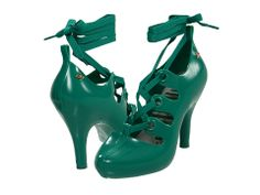 "Turquoise green pumps with 4"" heel & ballerina ribbon lace up straps from Vivienne Westwood."