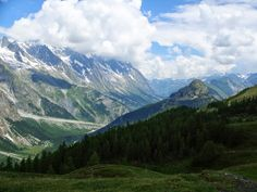A valley near Courmayeur, Italy on the Tour du Mont Blanc trail.
