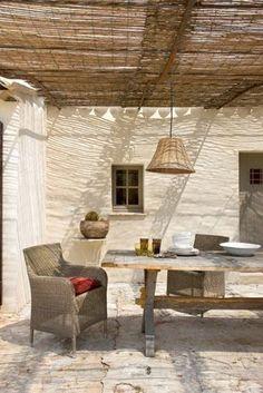 Para mi casa de pueblo { For my village house } Outdoor Rooms, Outdoor Living, Outdoor Decor, Interior And Exterior, Interior Design, Outside Living, Beautiful Space, Pergola, Living Spaces