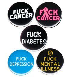 F*** Disease Pinback Button Badge Pin Choose Campaign Cancer Diabetes Depression Button Badge, Badges, Diabetes, Depression, Patches, Cancer, Campaign, Buttons, Badge