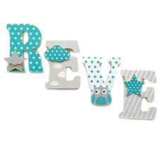 lettres prnom en bois et tissu imprim pour chambre denfant motifs turquoise et gris