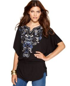 Style Top, Batwing-Sleeve Embroidered Tunic - Womens Tops - Macy's