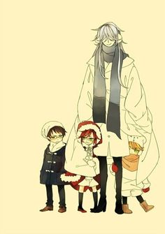 Undertaker babysitting Grell, Will, and Ronald-too cute!